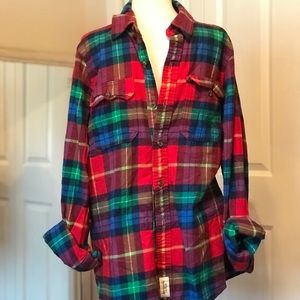 Abercrombie & Fitch bold flannel plaid xxl shirt